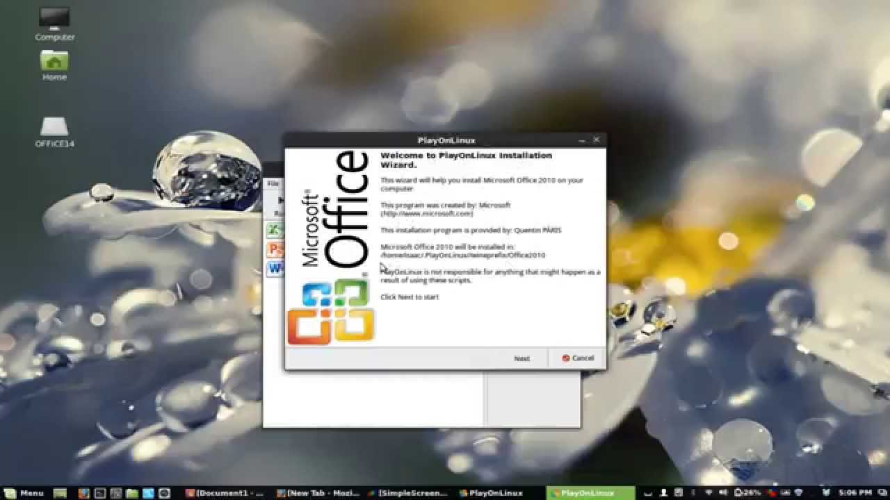 activation office 2010 playonlinux