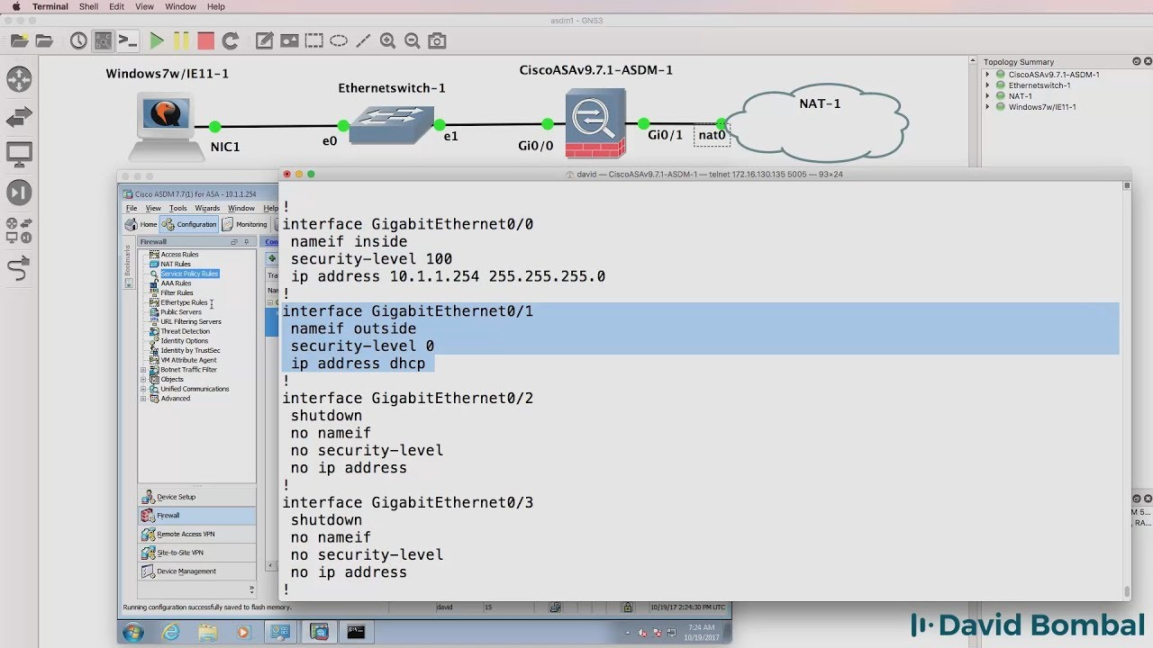 GNS3, Cisco ASA and ASDM: Configure VIRL ASAv firewall with GNS3 and ASDM  (Part 3)