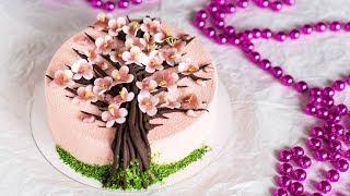 Весенний ТОРТ САКУРА. Рецепт структурного шоколада. Шоколад для создания веточек и деревьев