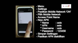 AXIS - Video Tutorial Cara Setting Internet Pada Android(Tutorial cara melakukan internet setting di handset berbasis android dengan menggunakan kartu AXIS. 1. Pilih 'Menu' 2. Pilih 'Setting' 3. Pastikan 'Mobile ..., 2012-12-20T03:40:35.000Z)
