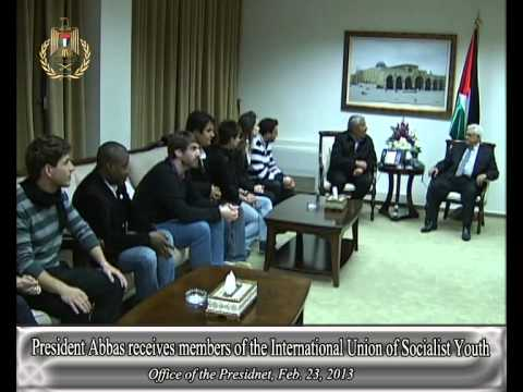 President Abbas receives members of the International Union of Socialist Youth