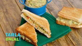 Toasted Hummus Sandwich with Vegetables by Tarla Dalal