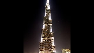 Breathtaking view of tallest building in the world at night, Burj Khalifa