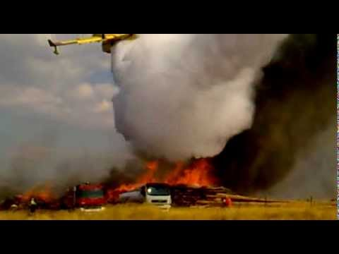 Canadair close water drop on Fire
