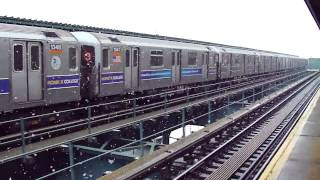 IRT Livonia Ave Line: R62 3 Train at Pennsylvania Ave in the Snow (Manhattan Bound)
