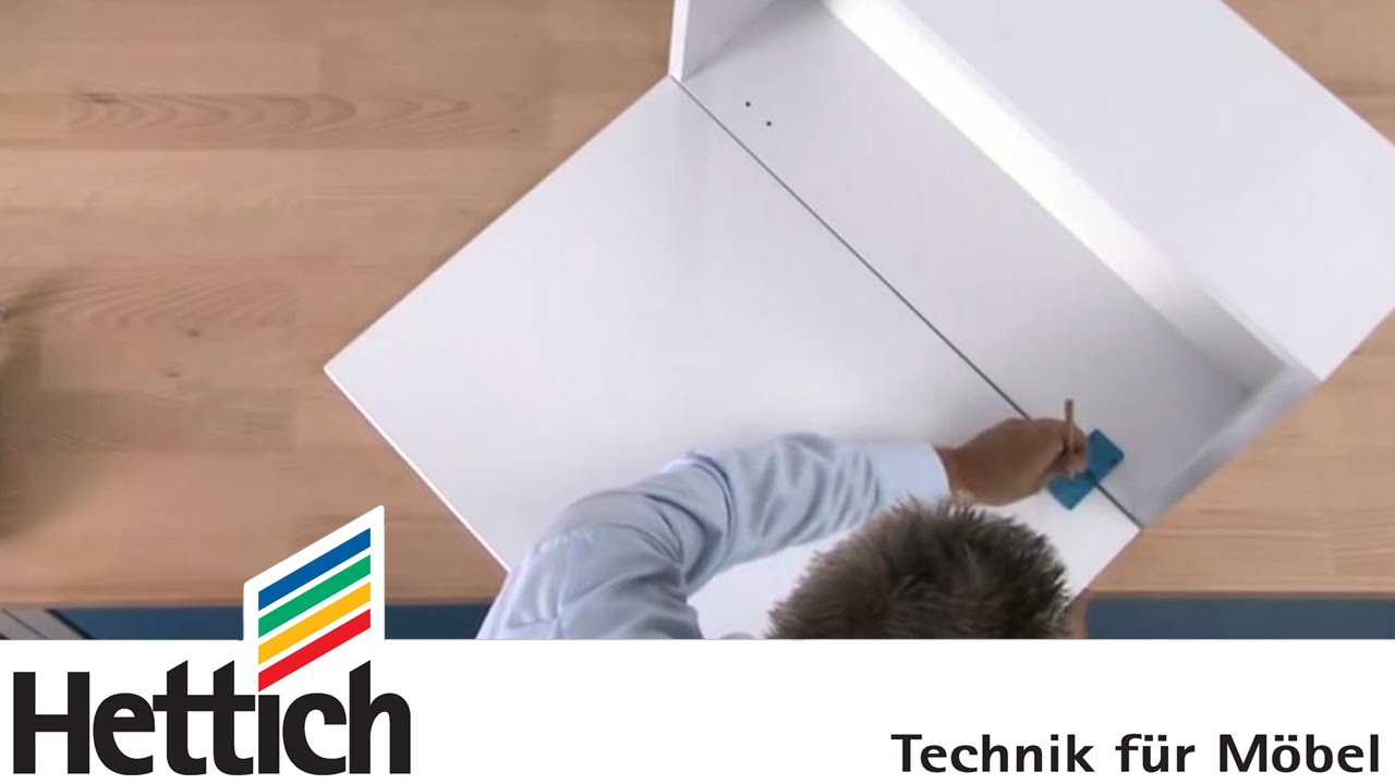 scharniermontage mit der bohrschablone hettich f r heimwerker youtube. Black Bedroom Furniture Sets. Home Design Ideas