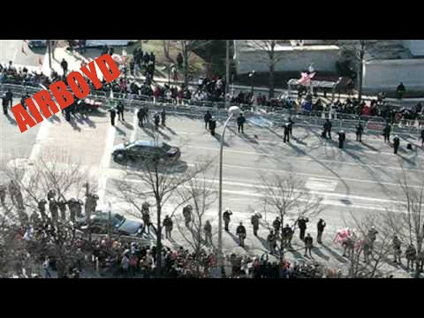 Obama Motorcade to the Capital for the Inauguration at 7th and Pennsylvania