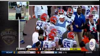 Florida Gator Gerald Willis Shoves Jameis Winston From The Sideline And Is Ejected