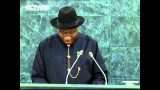 Goodluck Jonathan addressing the United Nations General Assembly