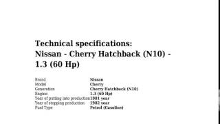 Nissan - Cherry Hatchback (N10) - 1.3 (60 Hp) - Technical specifications