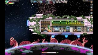Let's Play Starbound Episode 10: Tech Show and all 4 Bosses at Once