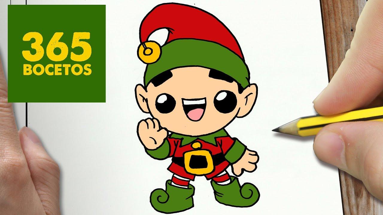 Dibujos Impresionantes De Navidad.Como Dibujar Elfo Navidad Kawaii Paso A Paso Dibujos Kawaii Faciles How To Draw A Christmas Elf