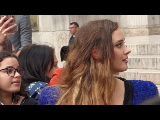KATHERINE LANGFORD (13 REASONS WHY) LEAVING THE BALMAIN SHOW IN PARIS OPERA GARNIER 2019.09.27