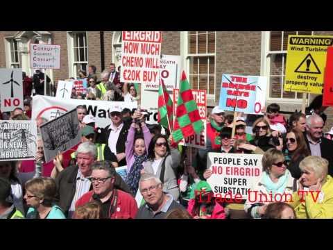 Thousands protest Pylons & Wind Turbines Dublin
