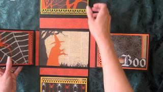Halloween Fold Out Folio Scrapbook Mini Album (Tutorial available)