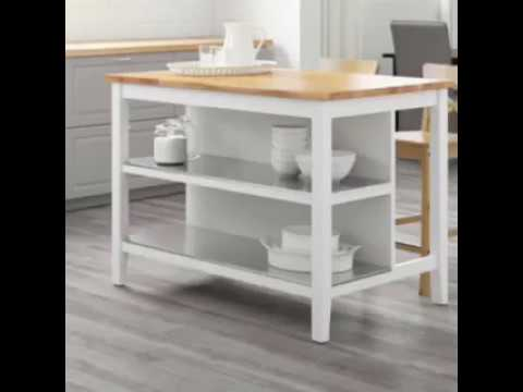 1 STENSTORP IKEA Isola cucina 126x79 bianco/rovere + 2 INGOLF Sedia bar  bianco.