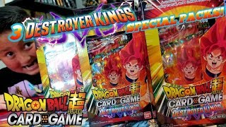 OPENING 3 DRAGON BALL SPECIAL PACKS! RARE DESTROYER KINGS BOXES! 12 DBS CARD GAME BOOSTER PACKS!