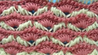 Веера Узор вязания крючком Tunisian crochet pattern  59