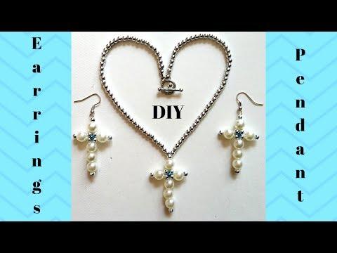 Beaded cross earrings and pendant. Jewelry making tutorial