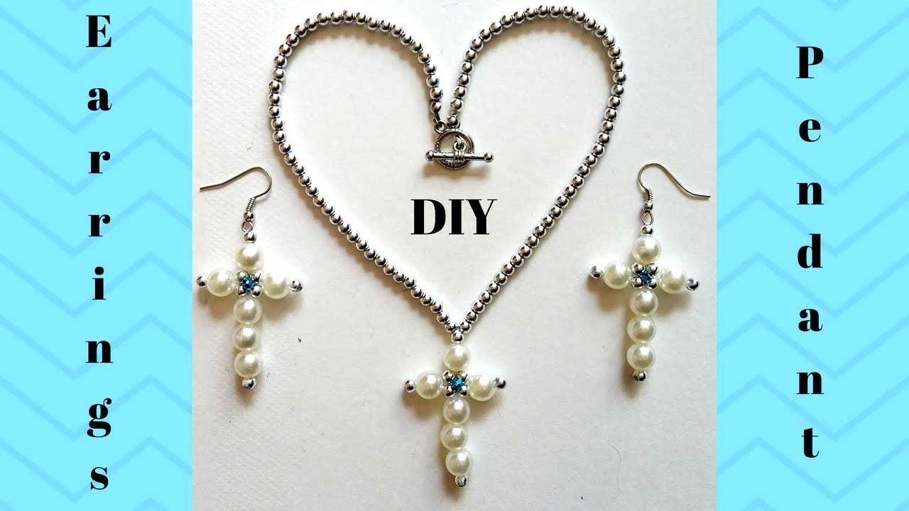 Beaded Cross Earrings And Pendant Jewelry Making Tutorial