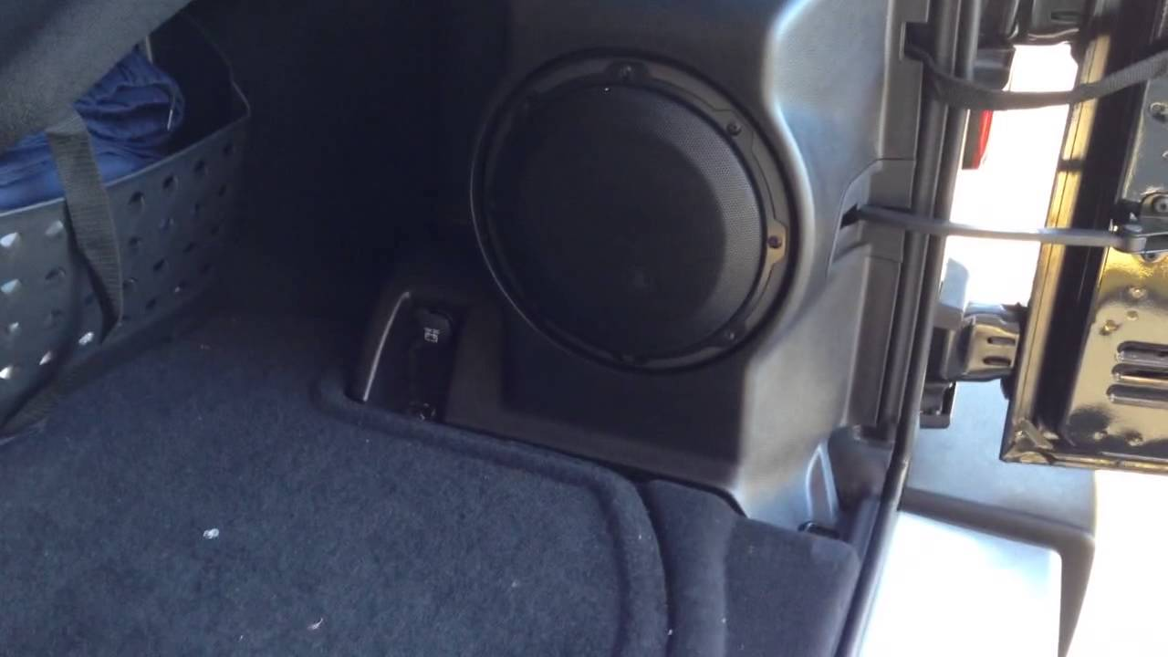 2013 JEEP WRANGLER Custom JL AUDIO system FACTORY SUB LOCATION – Jeep Subwoofer Wiring