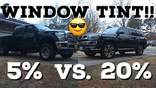 WINDOW TINT!! 5% vs. 20% vs Factory