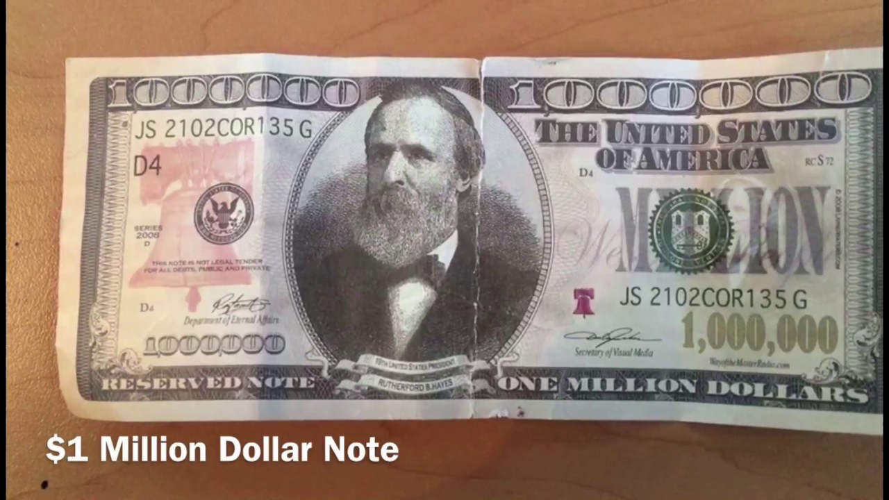 1 Million United States Dollar Note Usd 1000000 00