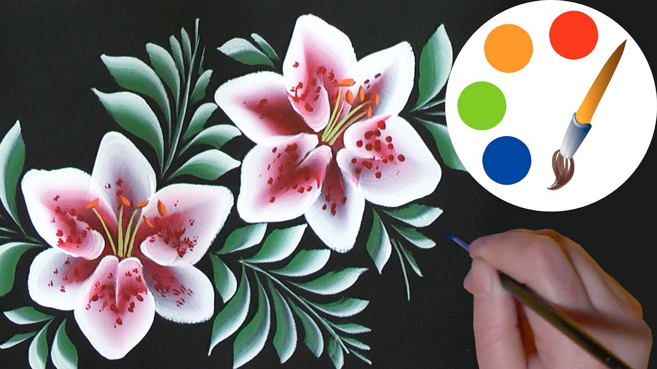 How To Paint Flowers Lilies On A Black One Stroke Irishkalia