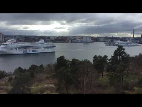 M/S Silja Symphony, M/S Victoria, and M/S Isabelle departing from ports in Stockholm (Time Lapse)