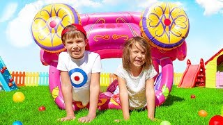 Head shoulders knees and toes |  Max and Katy Pretend Play doing exercise Nursery Rhymes  Kids Songs