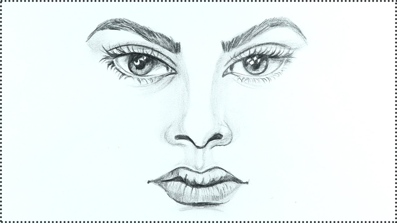 How to draw a face human face drawing tutorial step by step