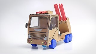 WoW! Amazing Army Truck With Rocket Launcher DIY At Home How To Make A Truck From 9v Battery
