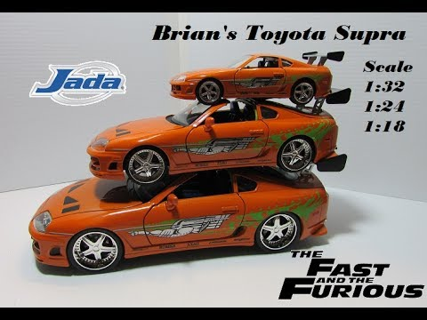 Brianu0027s Toyota Supra Diecast (Orange) The Fast And The Furious Jada 1:18,  1:24, 1:32 :