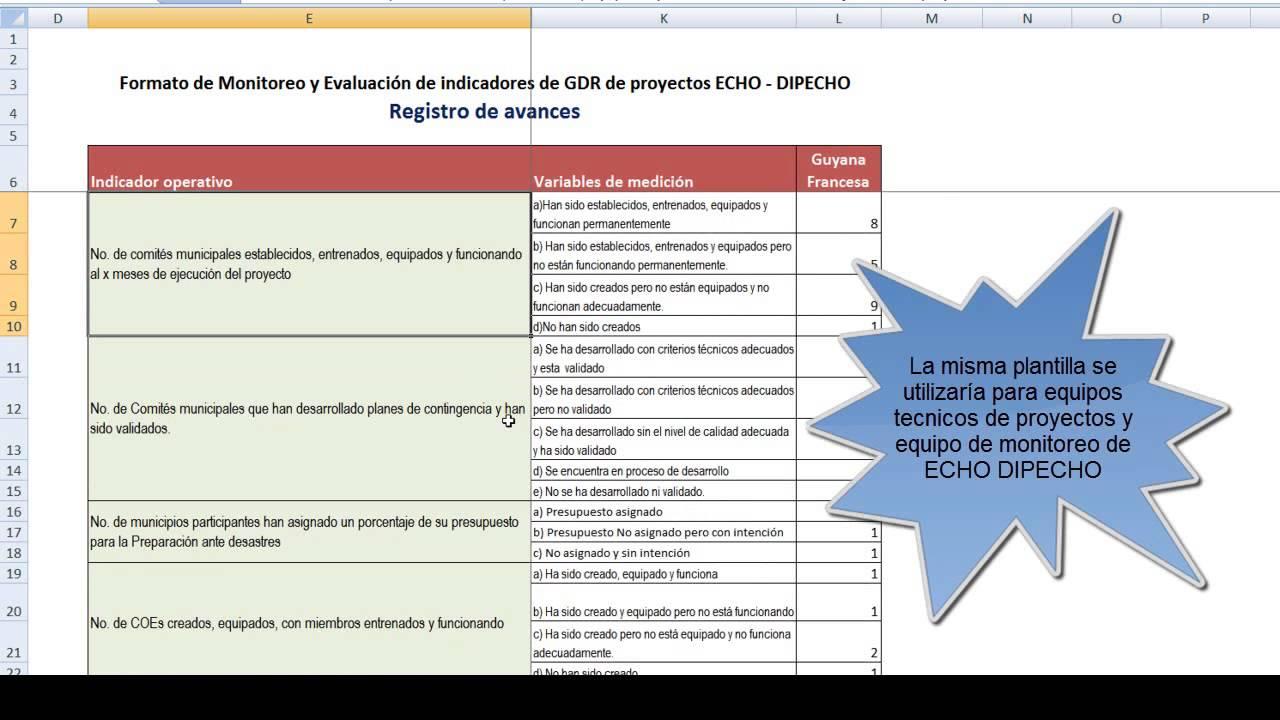 Plantilla de monitoreo y evaluación de indicadores de proyectos ECHO ...