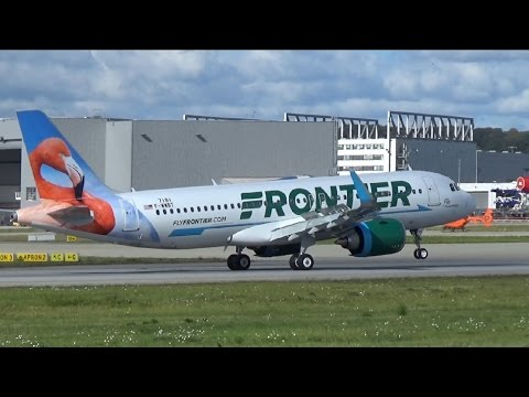 New A320NEO for FRONTIER Airlines Flamingo Livery landing at Airbus Plant Hamburg