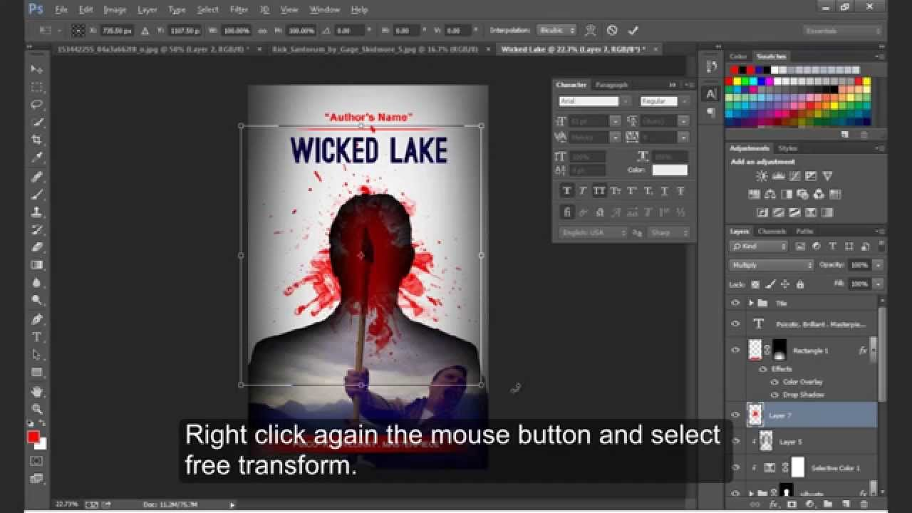 Book Cover Design Tutorial In Photo ~ How to design a bloody amazon kindle book cover photoshop cc
