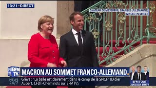 Emmanuel Macron accueilli par Angela Merkel avant le conseil franco-allemand