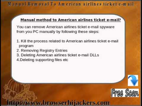 Delete American airlines ticket e-mail hijacking virus completely