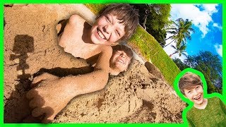 AXEL and DARIEN BURIED IN THE SAND!
