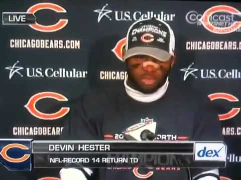 Devin Hester's Post game interview on  14th record setting TD