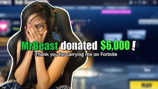 MrBeast INSANE donation on Twitch (My reaction) Fortnite - Battle Royale