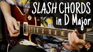 slash chords in d major