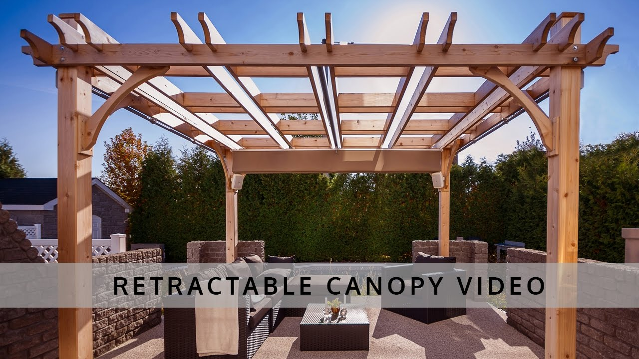 Pergola retractable canopy outdoor living today youtube - Pergola alu toile retractable ...
