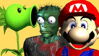 MARIO BROS vs PLANTS vs ZOMBIES ♫ 3D animated  game mashup ☺ FunVideoTV - Style ;-))