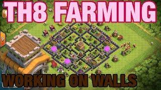 TH8 FARMING WORKING ON WALLS | Clash of Clans Farming Stream