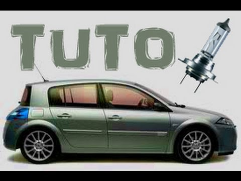 TUTO changer l'ampoule d'un feux de croisement Renault Mégane 2 (how to change dipped headlight) HD