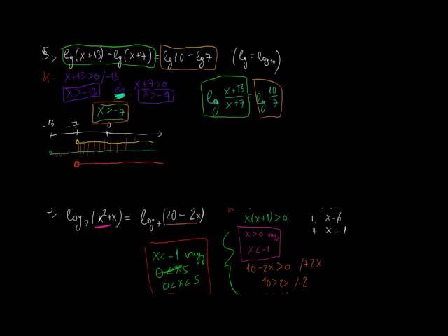 Logaritmikus egyenletek és egyenlőtlenségek 2