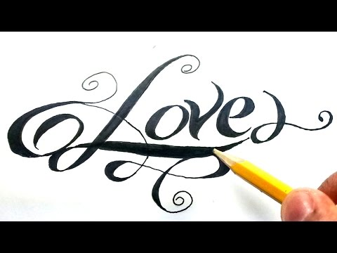 Como dibujar la palabra love paso a paso , (How to draw love in letters) Love en cursiva , YouTube