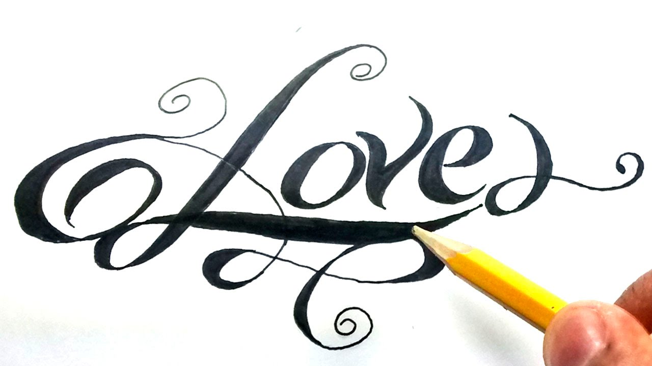 Como dibujar la palabra love paso a paso how to draw love in letters love en cursiva youtube