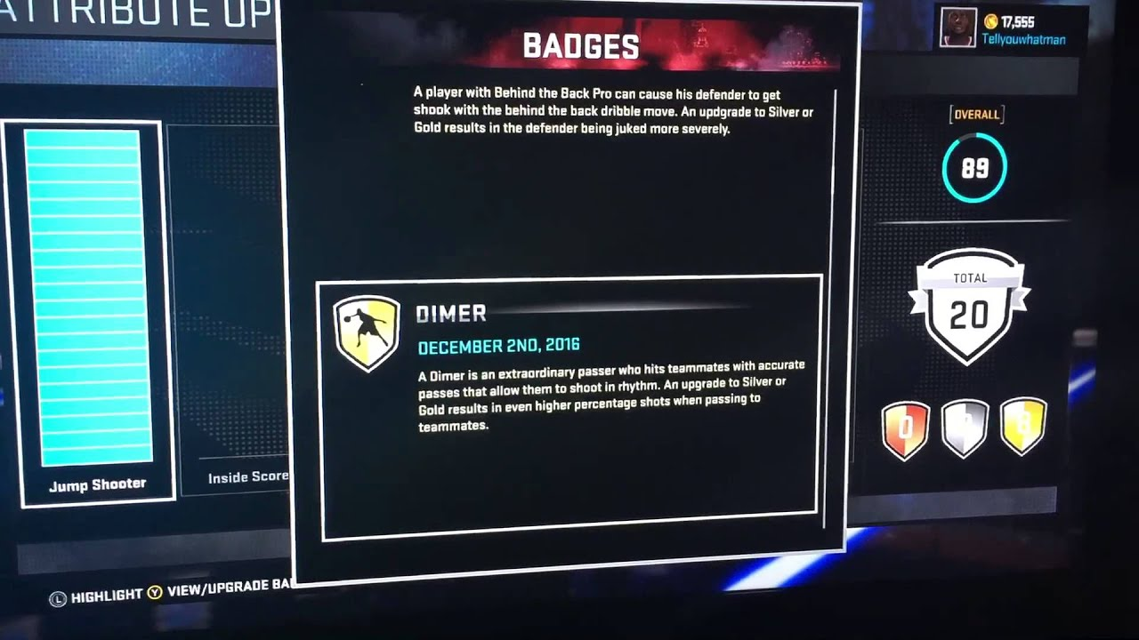 how to get dimer badge 2k17